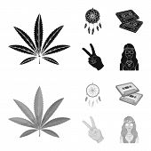 Amulet, Hippie Girl, Freedom Sign, Old Cassette.hippy Set Collection Icons In Black, Monochrom Style poster