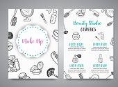 Make Up Hand Drawn Brochures. Doodle Beauty Posters Collection Of Brushes, Nail Polishes, Lipsticks. poster