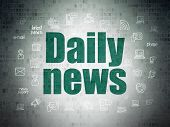 News Concept: Painted Green Text Daily News On Digital Data Paper Background With  Hand Drawn News I poster