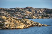 Sea Landscape Of A Rocky Coastline And Small Village On The South Of Sweden. Southern Coastline Of S poster