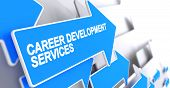 Career Development Services, Label On The Blue Arrow. Career Development Services - Blue Pointer Wit poster