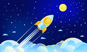 Concept Of Crypto-currency. Rocket Flying To The Moon With Bitcoin Icon. Crypto Currency Hype Vector poster