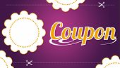 picture of save money  - High resolution promotional coupon on purple background - JPG