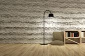 Floor Lamp With Pillow And Bookcase On Wooden Floor And White Bricks Wall. poster