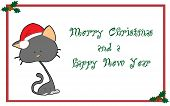 picture of droopy  - illustrated Christmas greeting card with pets and text - JPG