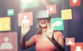 technology, virtual reality, entertainment and people concept - happy young woman with virtual reali poster