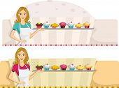 stock photo of bakeshop  - Illustration of a Web Banner with a Patisserie Design - JPG