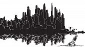 Vector Image Of The Silhouette Of The City Metropolis. Reflection In The River Bay Views. In The Por poster