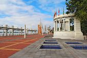 stock photo of guayaquil  - View down the Malecon 2000 near the intersection with the  Avenue 9 de Octubre at the riverfront near the center of Guayaquil - JPG