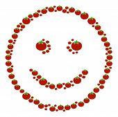 Glad Smiley Composition Of Tomato In Various Sizes. Vector Tomato Elements Are Organized Into Glad S poster