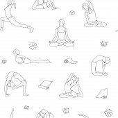 Outline Yoga Poses Pattern. Background Yoga Line Illustration. Yoga Postures Isolated poster
