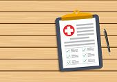 Clipboard With Medical Cross And Pen. Clinical Record, Prescription, Claim, Medical Check Marks Repo poster