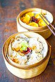 Prawn Gluten Free Dumplings. Chicken Curry Steamed Dumpling.  A Hand With Chopsticks Holds A Piece.  poster