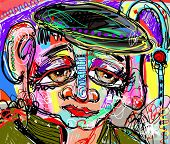 Original Abstract Digital Painting Of Human Face, Colorful Composition In Contemporary Modern Art, P poster