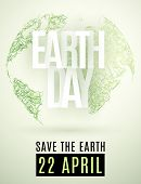 Happy Earth Day. 22 April. Abstract Green Planet Earth From Grass On A Light Background. Save The Ea poster