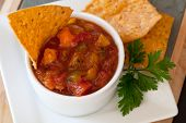 foto of chipotle  - Peach Mango Salsa with chipotle Chips  - JPG