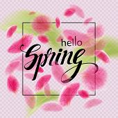 A Spring Background With Cherry Blossoms. Hello Spring. Pink Petals Soar In The Air. The Petals Of S poster