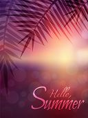 Vector Blurred Sunrise Seascape With Branch Of A Palm Tree. Lettering Hello, Summer. Vector Backgrou poster