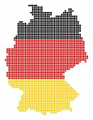 A Dotted Pixel Germany Map. Vector Geographic Map In Germany Flag Colors On A White Background. Colo poster