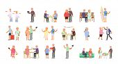 Big Set Of Healthy Active Lifestyle Retiree For Grandparents. Elderly People Characters.  Grandparen poster