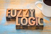 fuzzy logic, scientific theory - word abstract in vintage letterpress wood type  with a cup of coffe poster