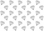 Simple Seamless Diamonds Pattern. Falling Diamonds Black Outlines On White Background. Luxury And Ri poster