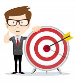 Funny Cartoon Business Man Shows A Sign Of Victory And Holding A Dart Board With A Direct Hit On Tar poster