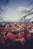 Europe, Slovenia, Ljubljana City. Photo Depicting A View From The Castle Hill To The Downtown City O poster
