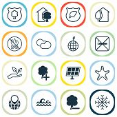 Ecology Icons Set With Solar Energy, Nature, Cloudy Weather And Other World Ecology Elements. Isolat poster