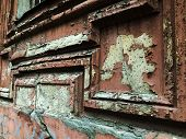 Texture Background - Wooden Surface Covered With Old Peeling Paint, Close Up Of Peeling Paint Textur poster