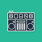 Blue Dj Remote For Playing And Mixing Music Icon Isolated On Green Background. Dj Mixer Complete Wit poster