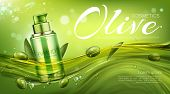 Olive Cosmetics Pump Bottle, Natural Beauty Product, Eco Cosmetic Tube Mock Up Floating In Water On  poster