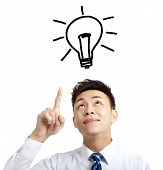 young businessman pointing bulb and idea concept