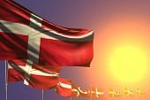 Pretty National Holiday Flag 3d Illustration  - Many Denmark Flags Placed Diagonal On Sunset With Pl poster