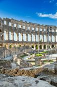 Ancient Heritage In Pula, Istria, Croatia. Arches Of Monumental Ancient Roman Arena. Interior Of His poster