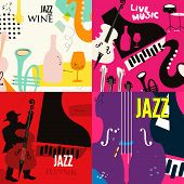 Set Of Music Cards And Banners Flat Vector Illustration Design. Music Cards With Instruments. Jazz M poster
