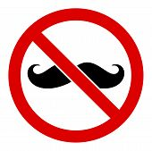 No Curly Mustache Raster Icon. Flat No Curly Mustache Symbol Is Isolated On A White Background. poster