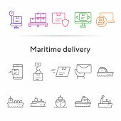Maritime Delivery Icons. Set Of Line Icons. Parcel Security, Storage, Ship. Export Concept. Vector I poster