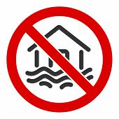 No Flood Disaster Raster Icon. Flat No Flood Disaster Symbol Is Isolated On A White Background. poster