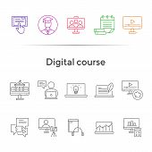 Digital Course Line Icon Set. Student, Computer, Lection. E-learning Concept. Can Be Used For Topics poster