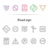 Road Sign Line Icon Set. Stop Sign, Speed Limit, Parking Sign. Road Sign Concept. Vector Illustratio poster