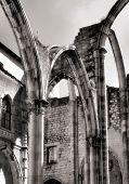 stock photo of carmelite  - Carmo convent church ruins in Lisbon - JPG