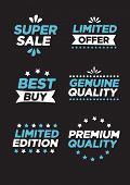 Collection Of Labels And Symbols With Super Sale, Limited Offer, Best Buy, Genuine Quality, Limited  poster