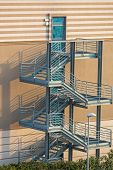 Emergency Exit External Steel Staircase Fire Escape At Condo Building poster