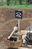 foto of landmines  - Land mine warning sign - JPG
