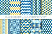 Collection Of Bright Seamless Colorful Geometric Patterns. Endless Fanky Textures. Vibrant Tileable  poster