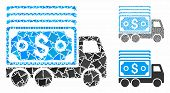 Cash Lorry Mosaic Of Bumpy Parts In Variable Sizes And Color Tones, Based On Cash Lorry Icon. Vector poster