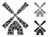 Wind Mill Mosaic Of Irregular Pieces In Different Sizes And Color Tints, Based On Wind Mill Icon. Ve poster