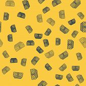 Blue Line Stacks Paper Money Cash Icon Isolated Seamless Pattern On Yellow Background. Money Banknot poster