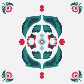Vector Folklore Rose And Leaves Symmetrical Composition On White Seamless Pattern Background. poster